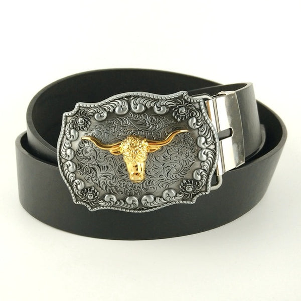 Golden Cow Buckle Metal Men's PU Leather Belts for Jeans Gift