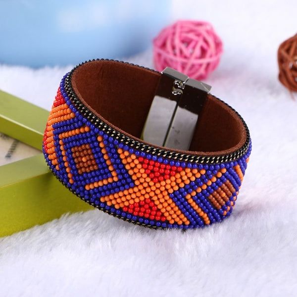 Fashion Jewelry Woman Leather Magnetic Bracelet & Bangles Bohemian beads