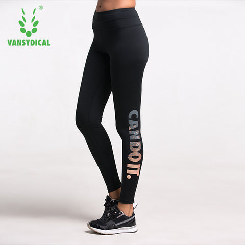 Bronzing Letters High Waist Stretched Sports Pants