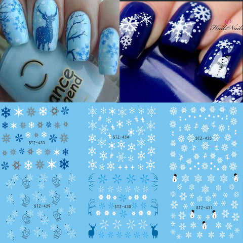 1 Sheet Water Nail Sticker Christmas Design Temporary Tattoos