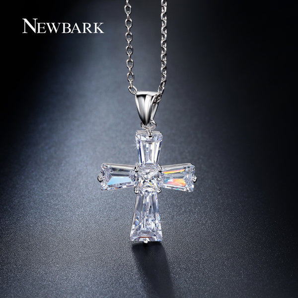 NEWBARK Elegant Cubic Zircon Cross Necklaces Pendants Silver Color