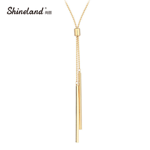 Shineland Women Accessories Hot Fashion Gold-color Metal Chain Collier Long Strip Pendants