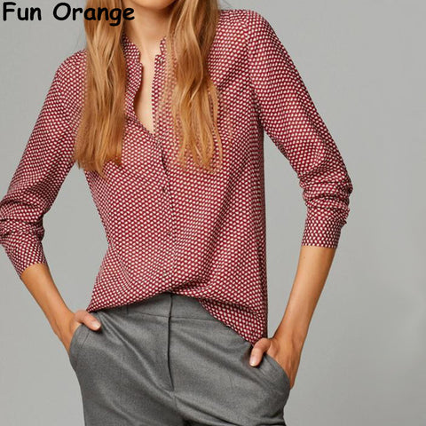 Fun Orange New Fashion Ladies elegant red leaves print blouses