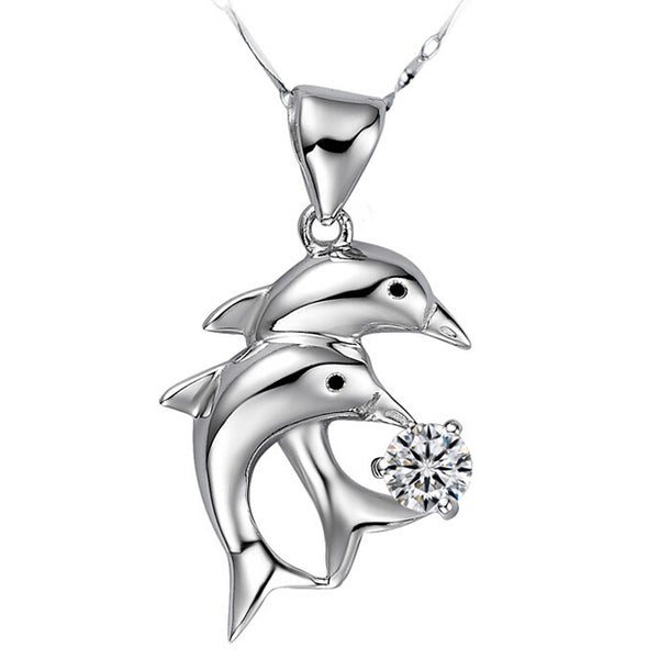 Valentine's Day Gift Rhinestone Collar Silver Color Dolphin Necklaces