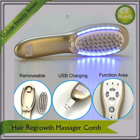 Mini Portable Rechargeable Gold Color Hair Regrowth Massager Comb For Hair Loss