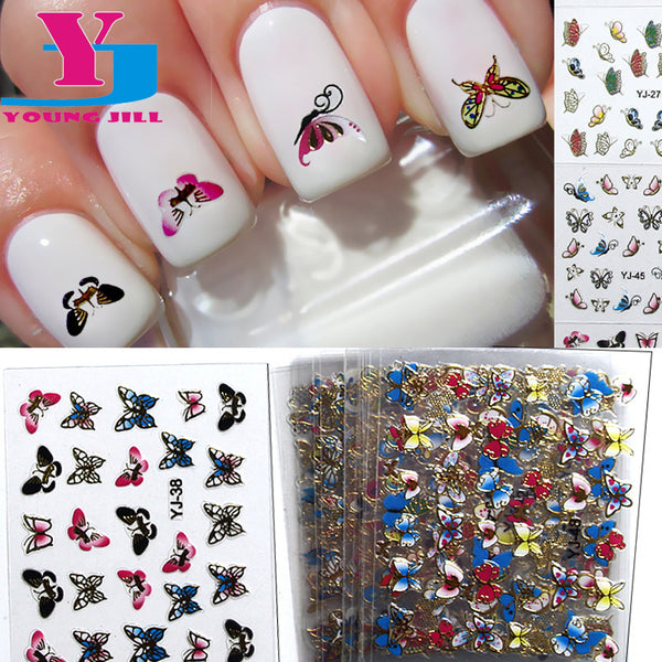 24pcs/lot 3D Nail Sticker Metallic Butterfly Flower Design