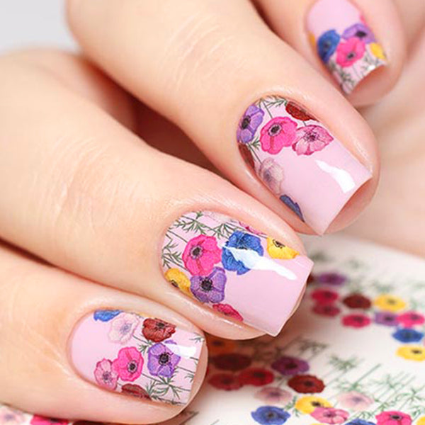 YZWLE 1 Sheet Water Transfer Nail Stickers Colorful Flower Pattern Decals