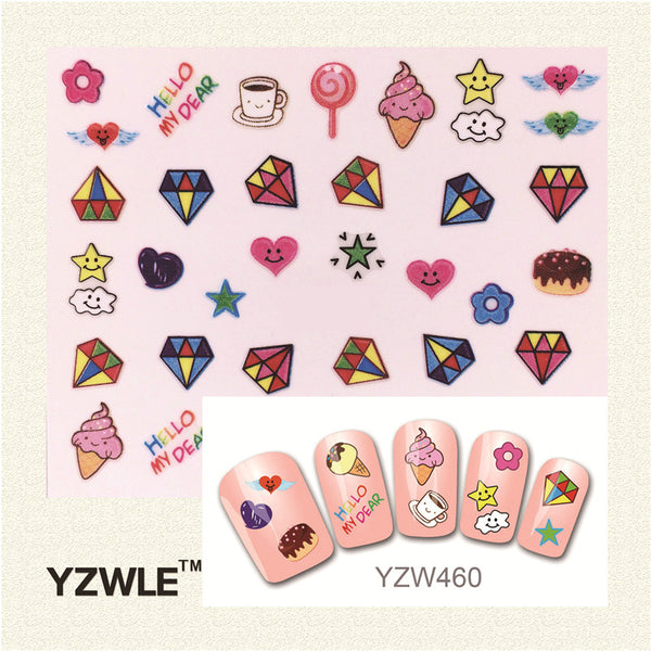 YZWLE 3D Design Stylish Beauty Nail Art Stickers