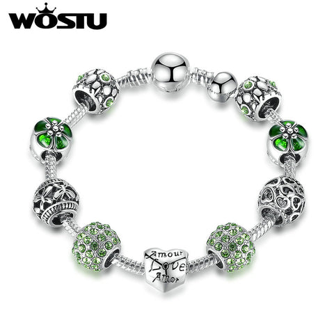 Top Sale Amour Love Openwork Heart Green Beads Silver Charm Bracelets & Bangles