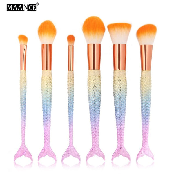 6pcs Fish Shape Face Eye Makeup Brushes Set
