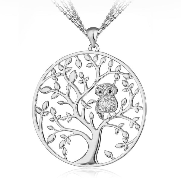 Shineland Owl & Tree Pendant Necklace For Women
