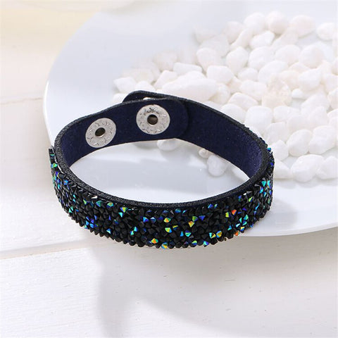 Hot Selling New Fashion Wrap Bracelets Slake Leather Bracelets With Full Crystals