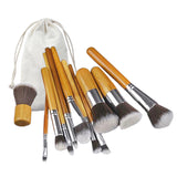 Mileegirl 11Pcs Bamboo Handle Makeup Brushes Set With Bag