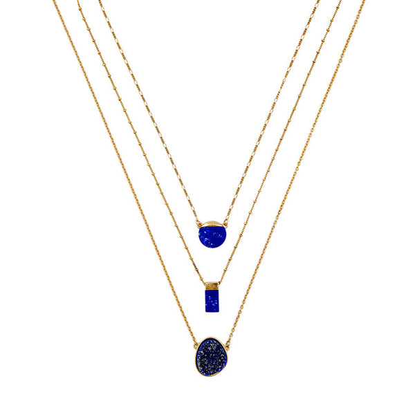 KISS ME Blue Multi Layer Necklace Chic Removable Geometric Pendant