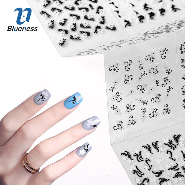 24Pcs/Lot Nail Art Stickers Black Mix White Flowers Design For Beauty Manicure Nails