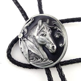 Western cowboy bolo tie for men - Black Leather with Horse