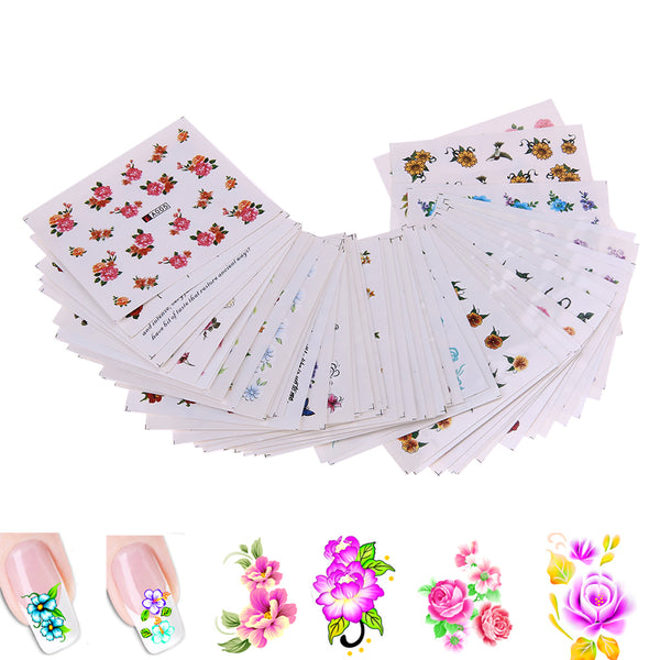 50 Sheets Mixed Flower DIY Design Nail Sticker Water Transfer Wraps