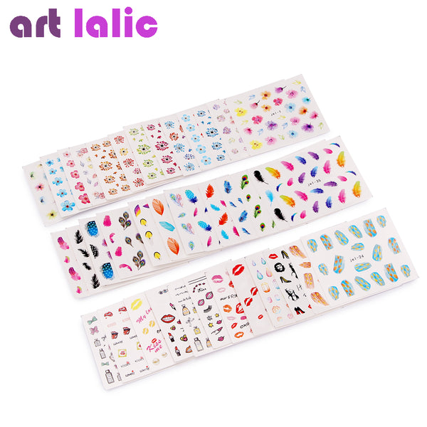 48 Sheets Mixed Flower Feather Pop Art Water Transfer Nail Art Sticker