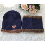 Winter Wool Ski Knitted Hats Scarf Set For Men