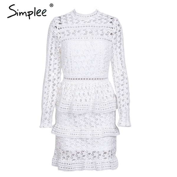 Simplee Elegant hollow out ruffle lace dress