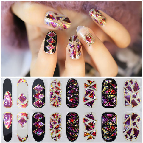 1 sheet Charming Nail Art Sticker 3d Broken Glass Adhesive Nail Decals