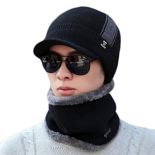 Knitted Wool Hats Collar Set Plus Velvet Thickening warm cap for Men