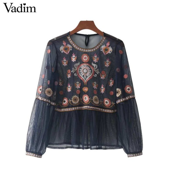 Vadim women vintage floral embroidery mesh shirts