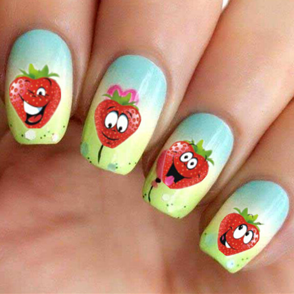 Funny Strawberry Design 1 sheet Water Transfer Nail Art Stickers
