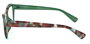 Luna Reading Glasses -Green/Red - Side View