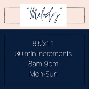 """Melody"" 30 min Appointment Planners"