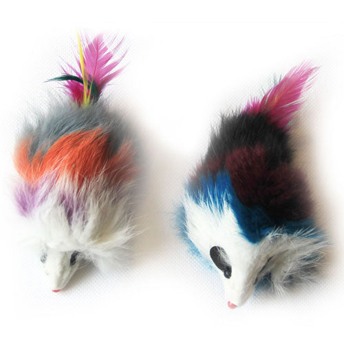 Multi-Colored Long Hair Fur Mice - 2 Pack - Assorted