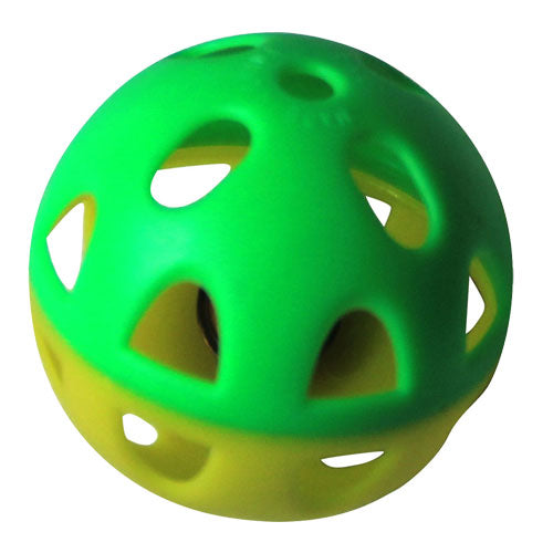 Two-Tone Plastic Ball With Bell - 1 Pack - Yellow/Green Pattern