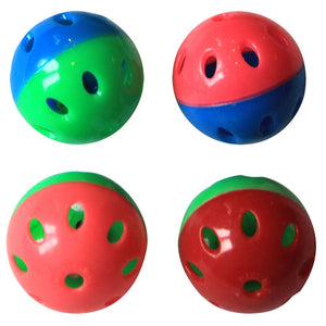 Two-Tone Plastic Ball With Bell - 4 pack - Assorted
