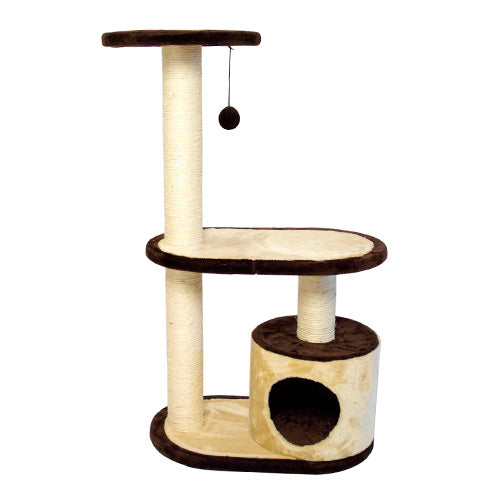 Three Tier Cat Tree Condo with multiple Posts - Beige/Brown