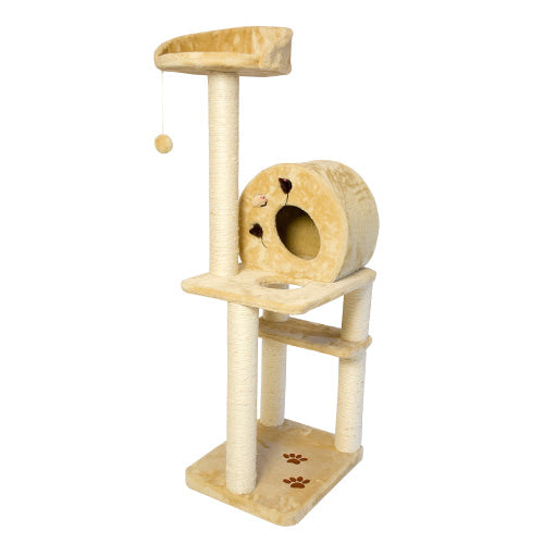 Multi Level Cat Tree Playground with multiple sisal posts and condo - Beige