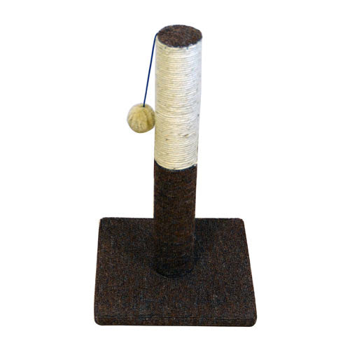Kitty Scratch – Sisal Cat Scratching Post with Plush Toy - Brown