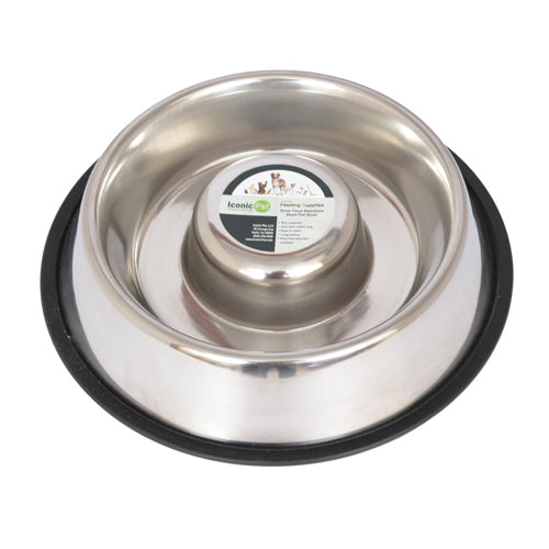 Slow Feed Stainless Steel Pet Bowl for Dog or Cat - Small - 12 oz