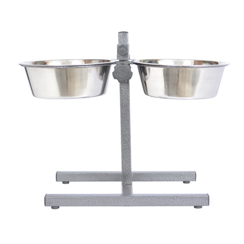 Adjustable Stainless Steel Pet Double Diner for Dog - 2 Qt - 64 oz - 8 cup