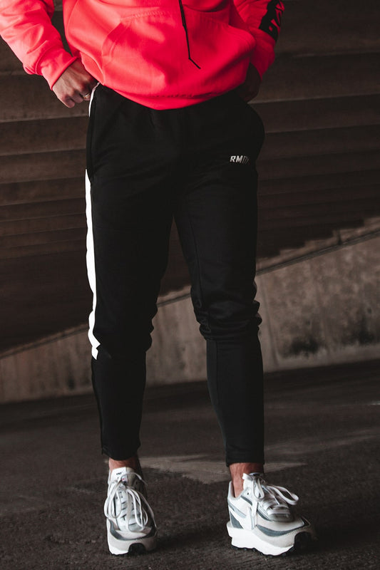 Black Tapered Panel Joggers