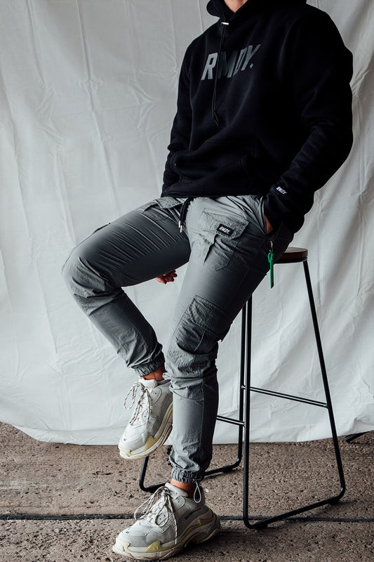Grey Fitted Tech Cargo Bottoms