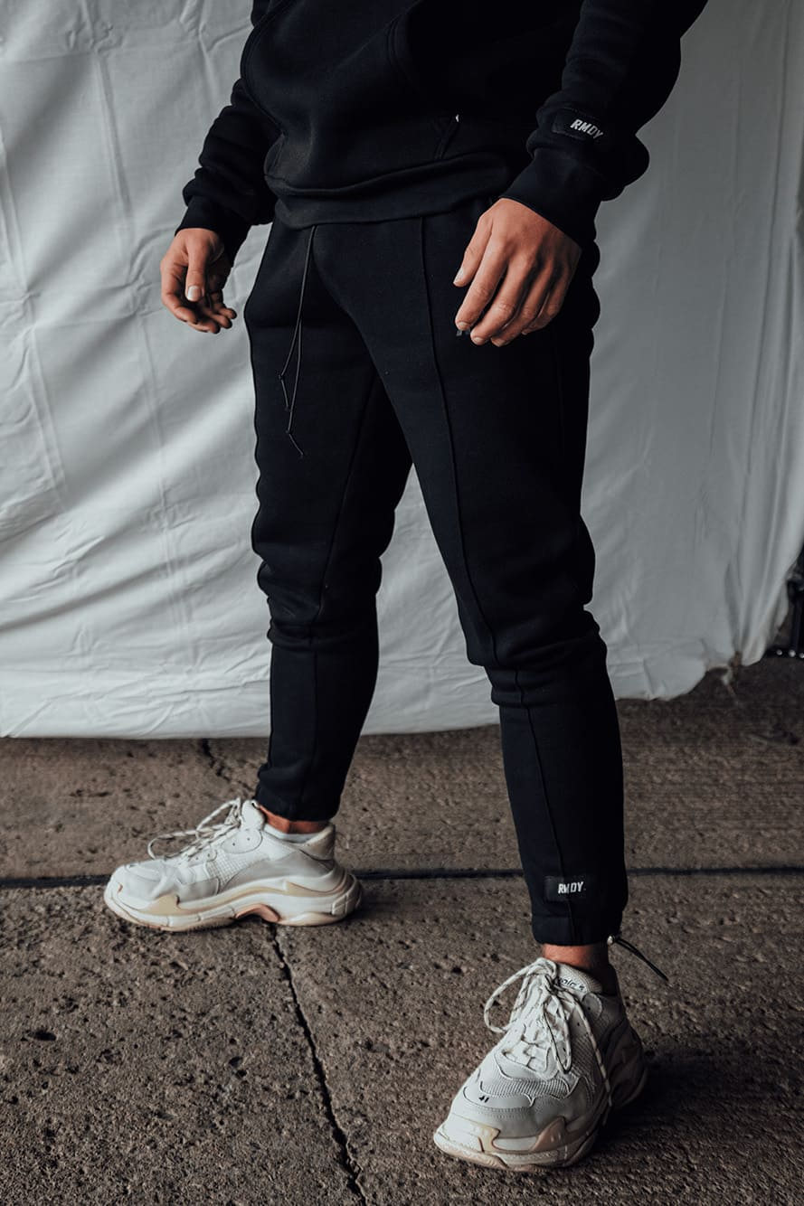 Black Tonal Tapered Joggers