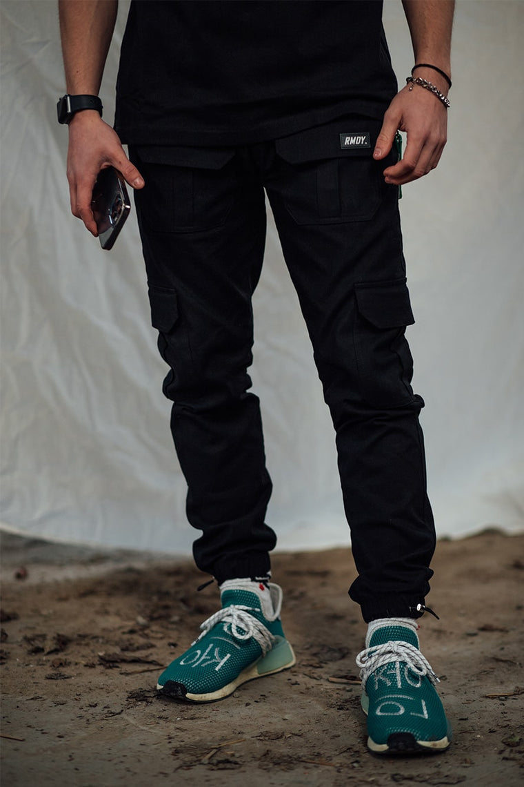 Black Fitted Cargo Bottoms V3
