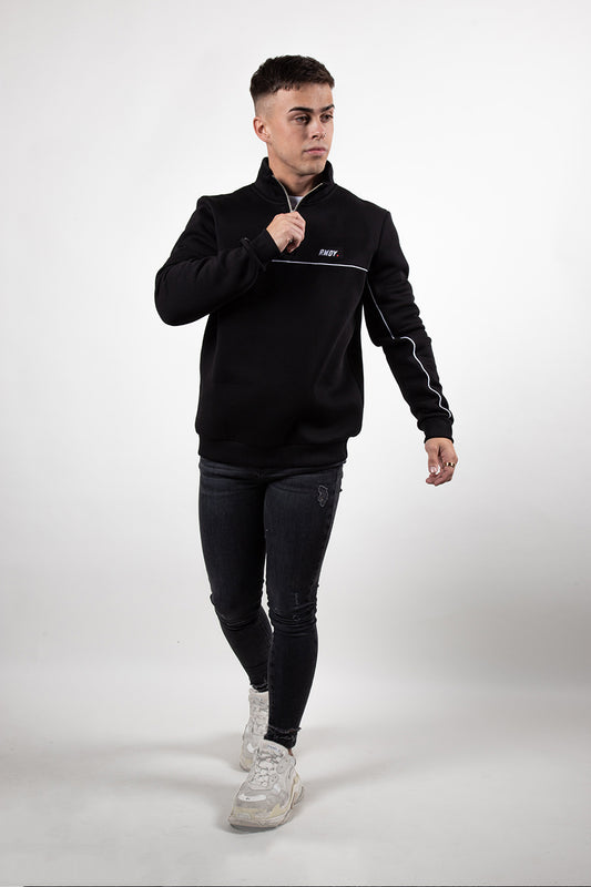 Black 1/4 Zip Neck Piped Sweatshirt