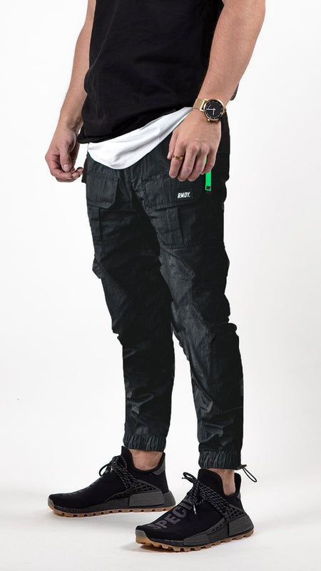 Black Fitted Tech Cargo Bottoms