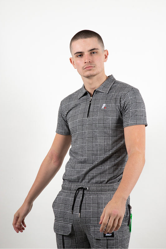 Grey Prince Of Wales Check Zip Neck Polo