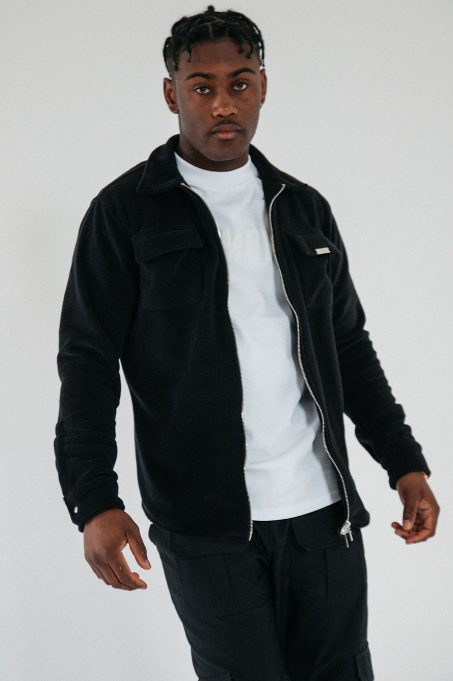 Black Zipped Fleece Shacket