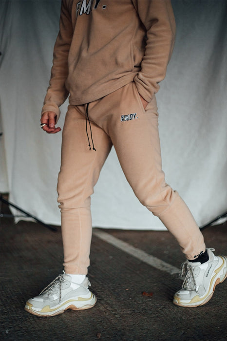 Beige Fleece Tapered Joggers