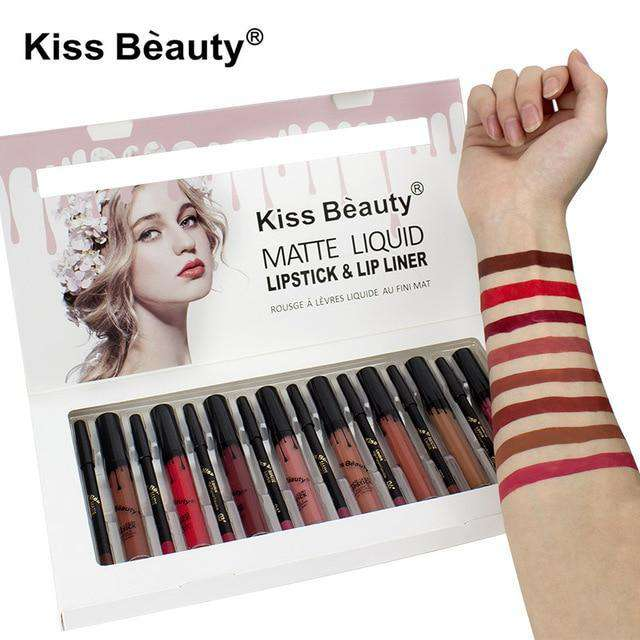 Pack Maquillage Kiss Beauty:   8 Gloss  Lipstick + 8 Crayons à lèvres  Waterproof