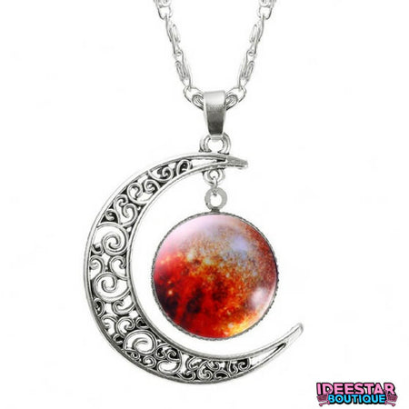 Collier Lune galaxie rouge pas cher ideestarboutique