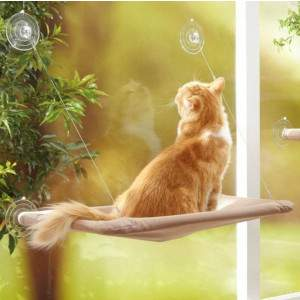 Cute Pet Hanging Beds Bearing 20kg Cat Sunny Seat Window Mount Pet Cat Hammock Comfortable Cat Pet Bed greniermonde